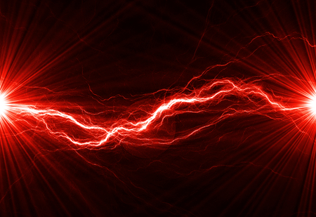 Hot fiery lightning, burning electrical background 版權商用圖片