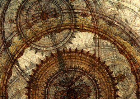 Fantasy steampunk design, circle cogwheels design Standard-Bild