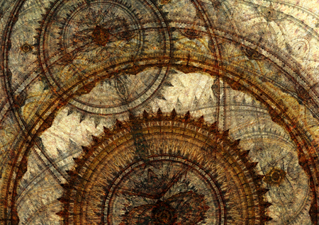 Fantasy steampunk design, circle cogwheels design Stock Photo