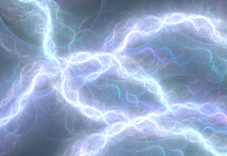rainstorm: Blue electric lighting, abstract electrical background Stock Photo