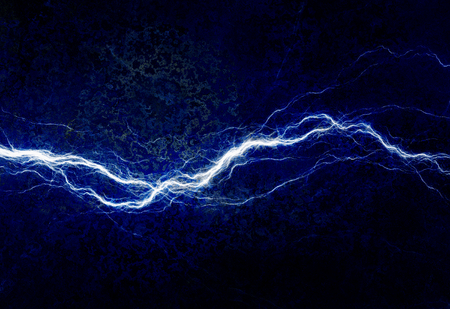 Blue electric lighting, abstract electrical background Banco de Imagens