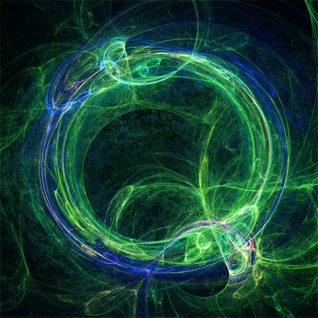 Blaue und grüne Fraktal Kreis als Symbol für die Ouroboros Standard-Bild - 35173260