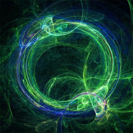 Blue and green fractal circle symbolizing the Ouroboros Standard-Bild