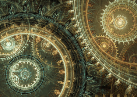 Fantasy steampunk design, abstract mechanical background made of fractal cogwheels Standard-Bild