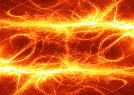 electrocute: Hot fiery lightning, burning electrical background Stock Photo