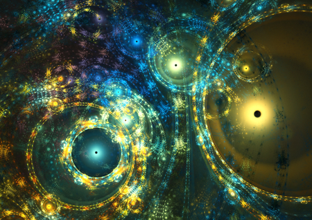 time machine: Fantasy space clock machine, abstract circle fractal background Stock Photo