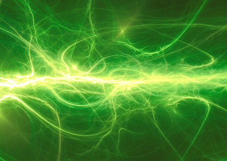 green lines: Fantasy green lightning, abstract electrical background