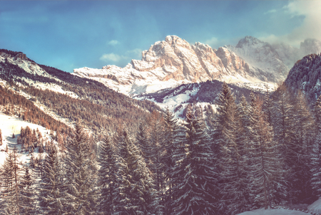 wintersport: Winter Italian Dolomites in Valgardena, Italy Stock Photo