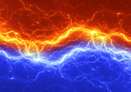 Fire and ice abstract lightning background Standard-Bild