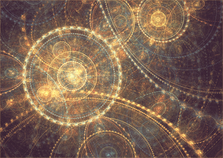 Fantasy space clock machine, abstract circle fractal background