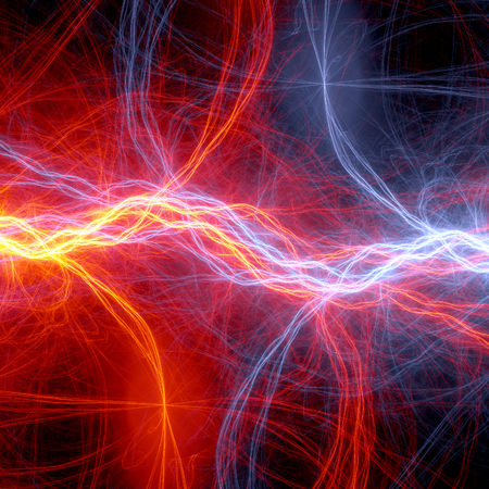 Fire and ice abstract fantasy lightning. electrical background Standard-Bild