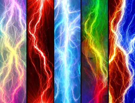 descarga electrica: Cinco banderas con relámpagos de colores abstractos Foto de archivo