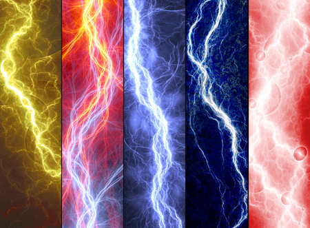 lightnings: Five banners with colorful abstract lightnings