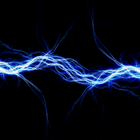 bolt: Blue electric lighting, abstract electrical background Stock Photo