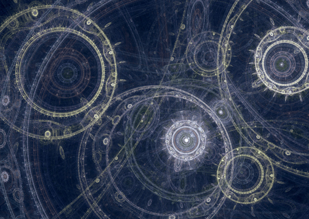 machines: Blueprint of a fantasy steampunk  machine, abstract fractal design Stock Photo