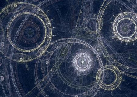 MAQUINA DE VAPOR: Modelo de una m�quina de fantas�a steampunk, dise�o abstracto fractal Foto de archivo