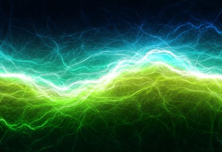 electric shock: Alumbrado eléctrico verde y cian, fondo abstracto eléctrica