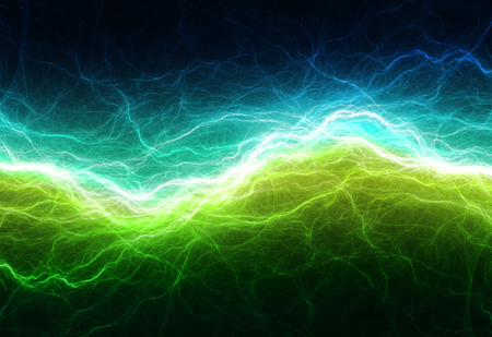 Green and cyan electric lighting, abstract electrical background