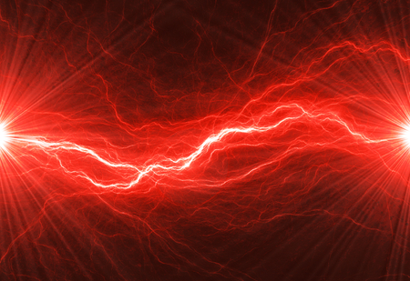 Hot red lightning, burning electrical background