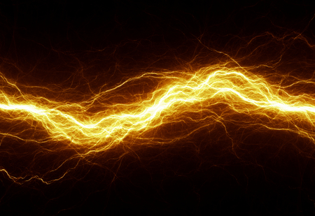 lightning storm: Hot golden lightning, electrical background Stock Photo