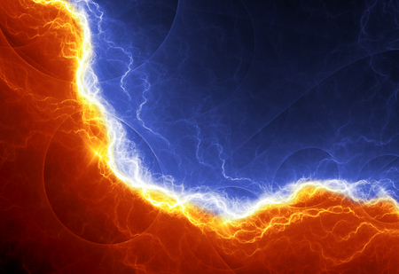 Fire and ice abstract fractal lightning electrical background