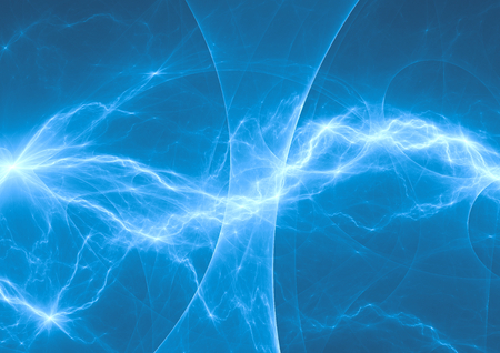Blue and cyan electric lighting, abstract electrical background