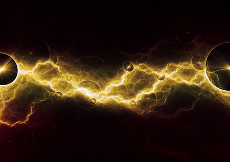 Hot yellow lightning, abstract electrical design