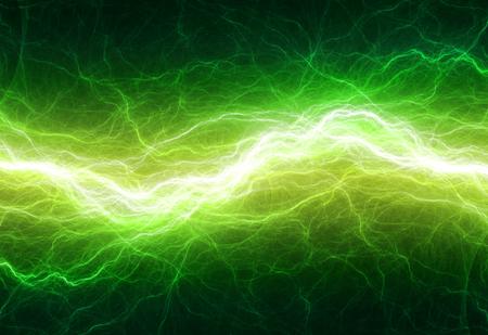 Fantasie groene bliksem, abstracte elektrische achtergrond Stockfoto