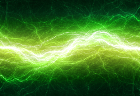 night sky: Fantasy green lightning, abstract electrical background