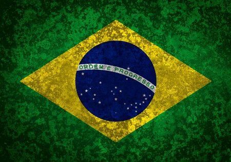 brazilian: Flag of Brazil. Grungy textured Brazilian flag.