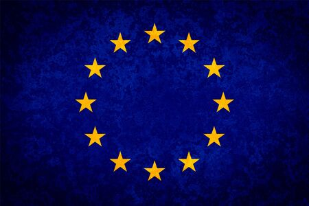unified: Flag of EU. Grungy textured Europ union flag. Stock Photo