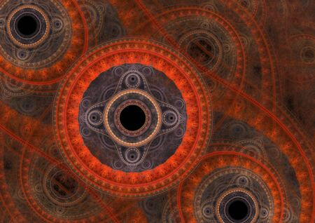 machinist: Red abstract circle fractal, mechanical background