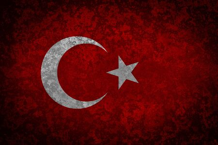 turkish flag: Flag of Turkey. Grungy textured turkish flag. Stock Photo