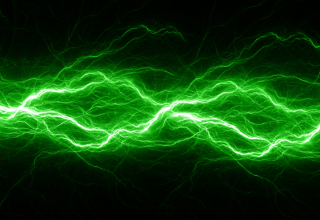 Fantasy green lightning, abstract electrical background