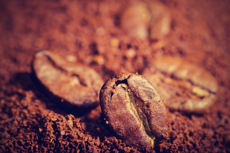 grounded: Coffe beans in the heat of the grounded coffe, macro close-up.