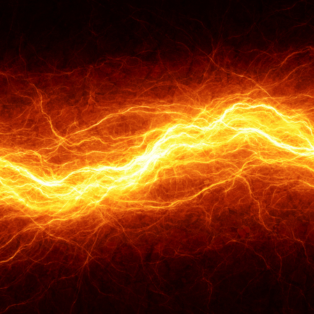 warm up: Abstract fiery lightning, hot electrical background