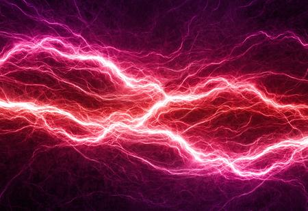 Fantasy red and purple lightning, electrical background Standard-Bild