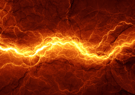 Hot fiery lightning, burning electrical background Standard-Bild