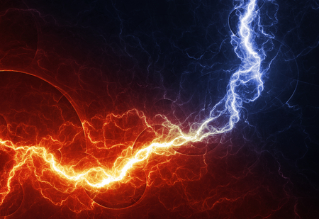Fire and ice abstract lightning background, clash of the elements