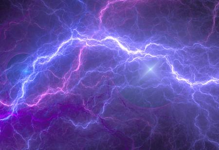 Iluminación eléctrica azul y púrpura, fondo abstracto eléctrica
