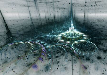 fantasy alien: Fantasy  alien 3D rendered fractal cityscape