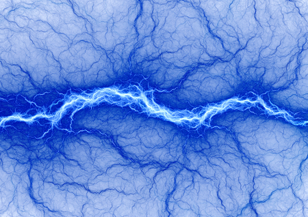 bolt: Blue electric lighting, abstract electrical storm on white background