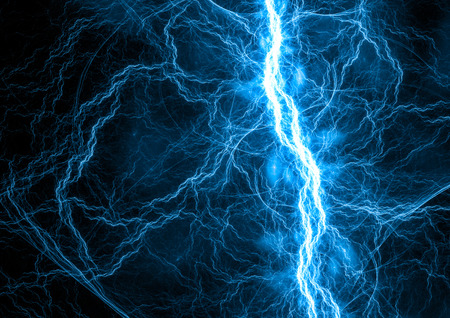 illustration line art: Blue electric lightning - abstract electrical background