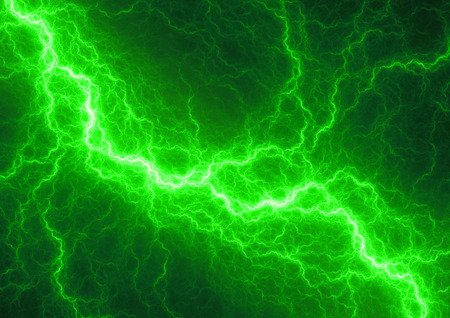 storms: Fantasy green lightning, abstract electrical background