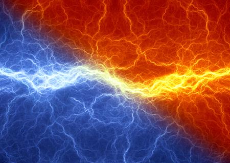 火と氷雷の抽象的な背景、要素の衝突 写真素材