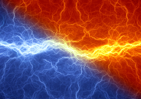 clash: Fire and ice abstract lightning background, clash of the elements