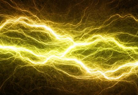 Hot golden lightning, electrical background Standard-Bild