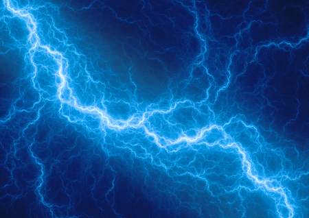 lightning strike: Blue lightning - abstract electrical background Stock Photo