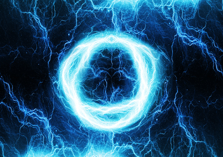 Circular lightning discharge, abstract background