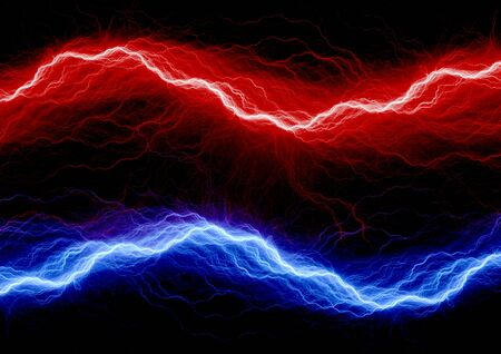 Red and blue lightning Stock Photo